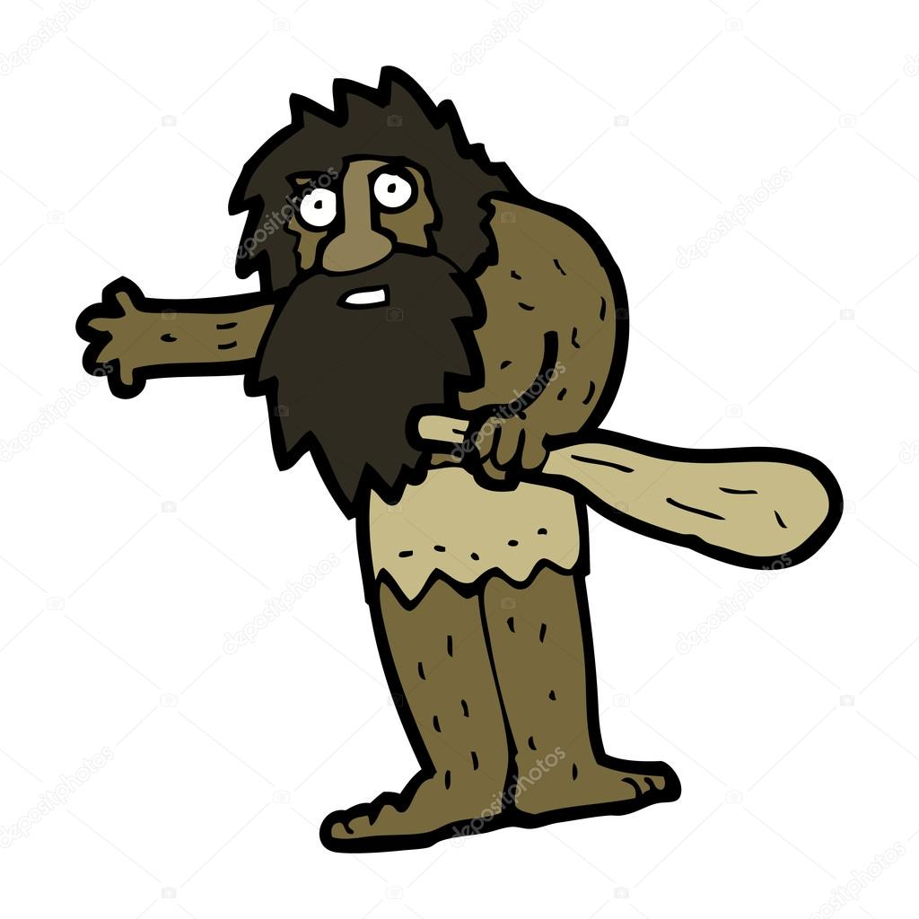 Uomo delle caverne dei cartoni animati u vettoriali stock
