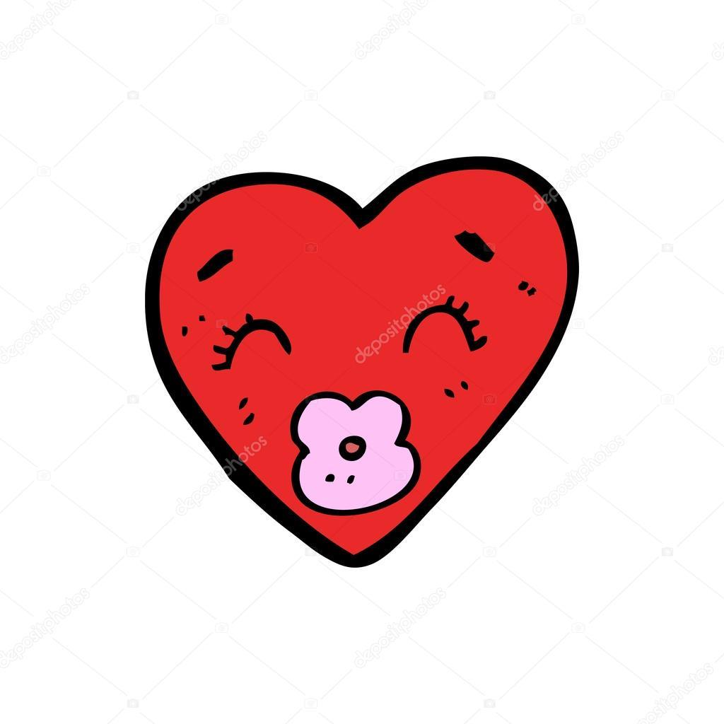 Cartone animato baci cuore divertente — vettoriali stock