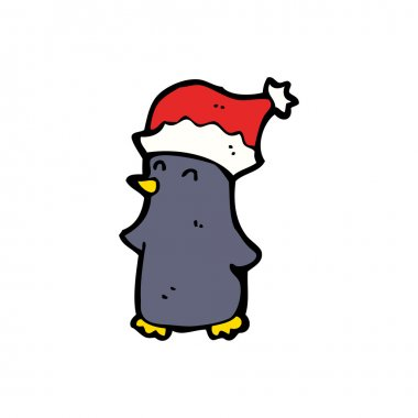 Cartoon Festive Xmas Penguin Wearing A Hat Royalty Free Vector Clipart