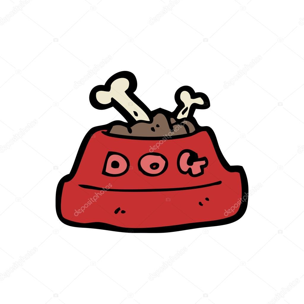 Cibo per cani nella ciotola dei cartoni animati u vettoriali stock