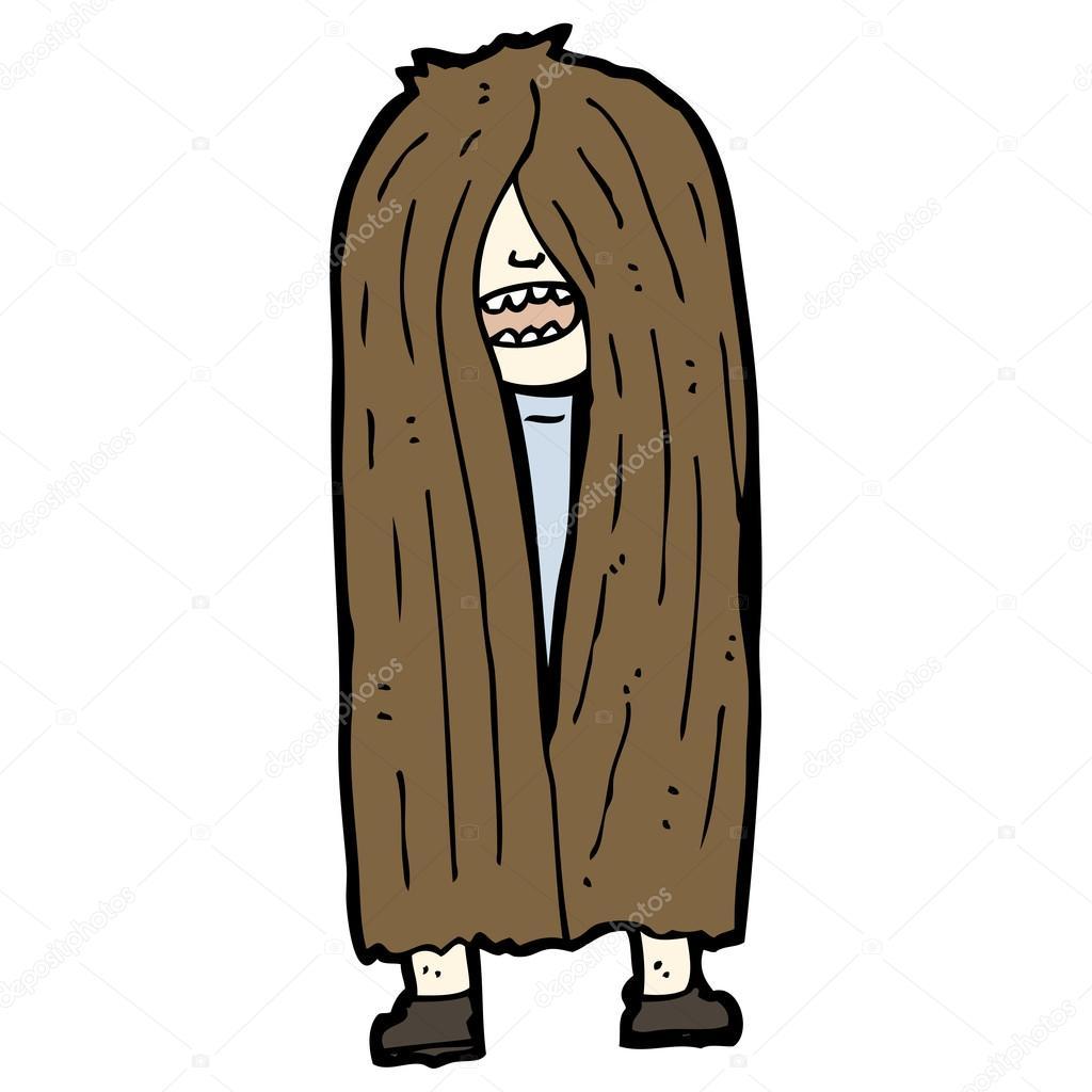 Cartone animato di capelli lunghi uomo — vettoriali stock