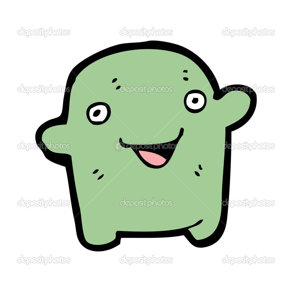 waving alien baby creature cartoon u2014 stock vector