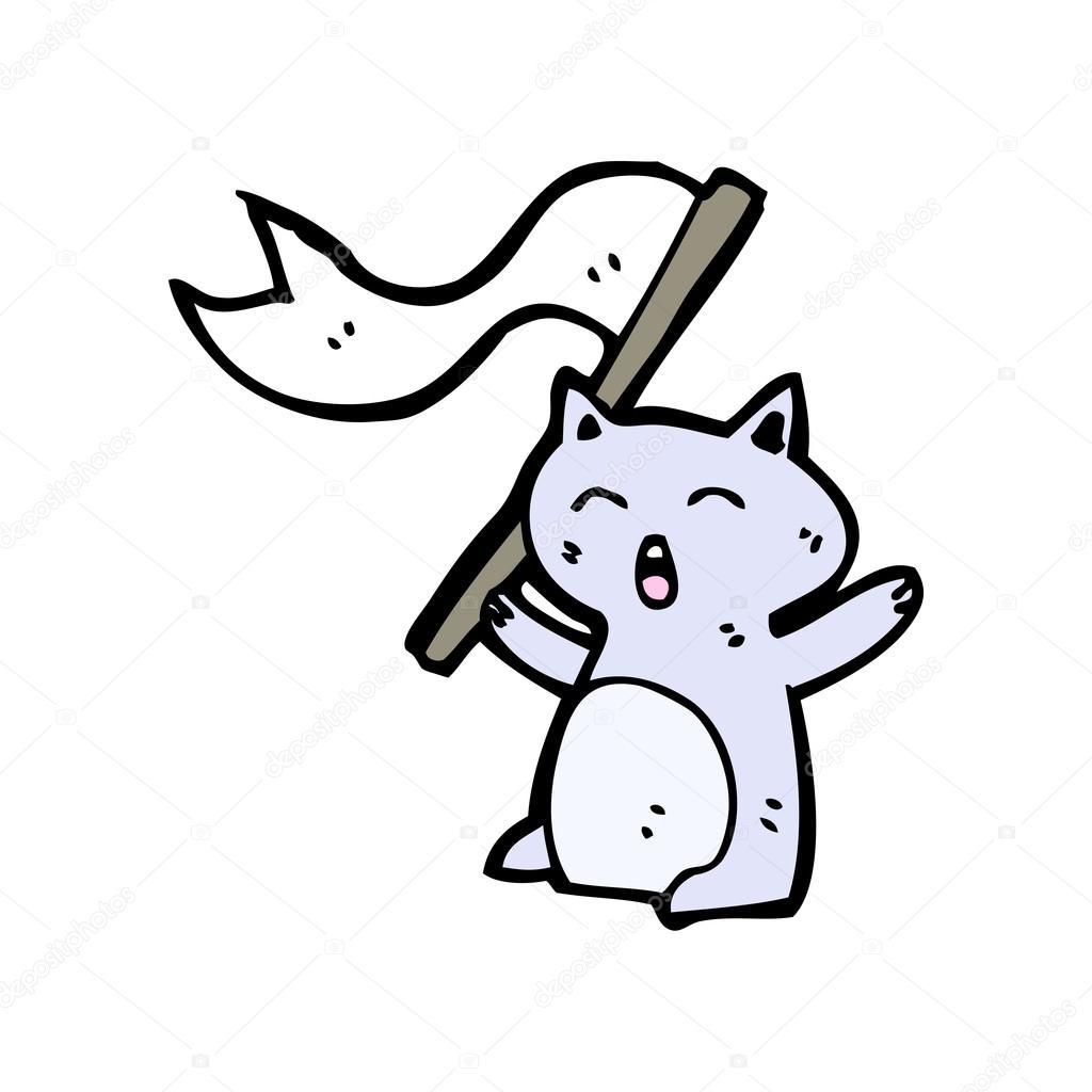 Cartone animato di bandiera bianca sventolante gatto