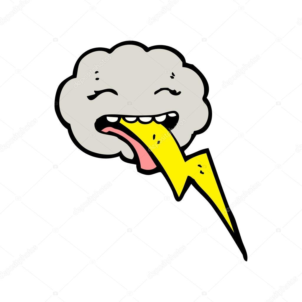 Thundercloud spitting lightning cartoon