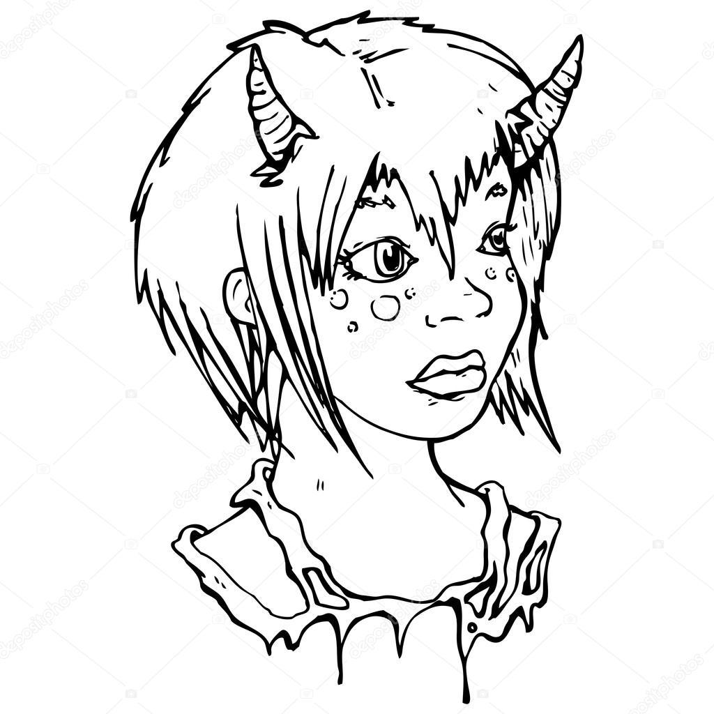 Caricature de fille jolie diablesse image vectorielle lineartestpilot 19583093 - Dessin diablesse ...