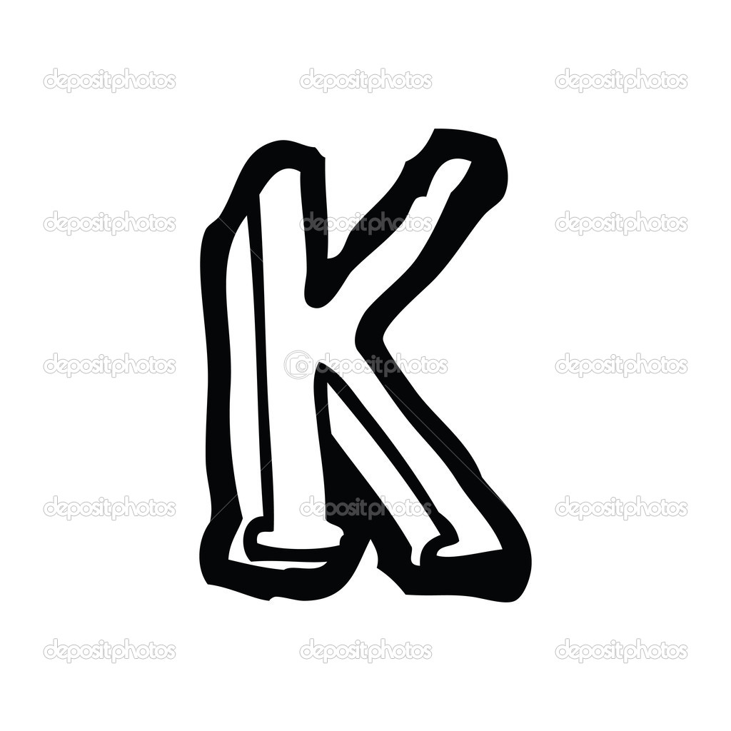 Vector Cartoon Letter K On A White Background By Lineartestpilot