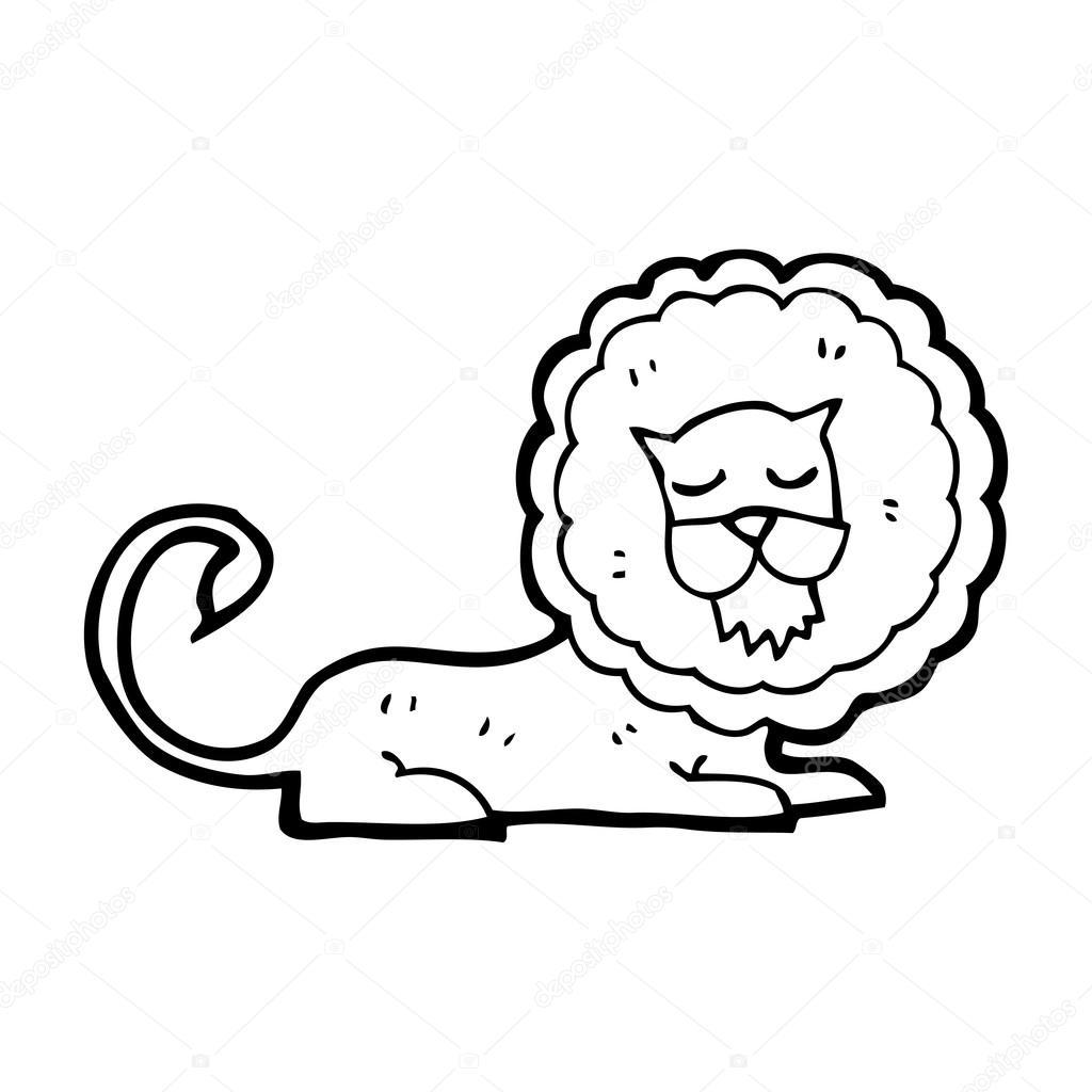 Sleeping Lion Cartoon Stock Vector C Lineartestpilot 19612109