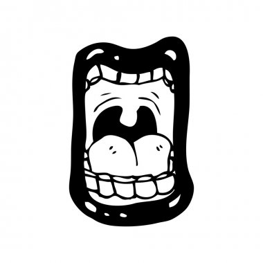 Screaming mouth cartoon