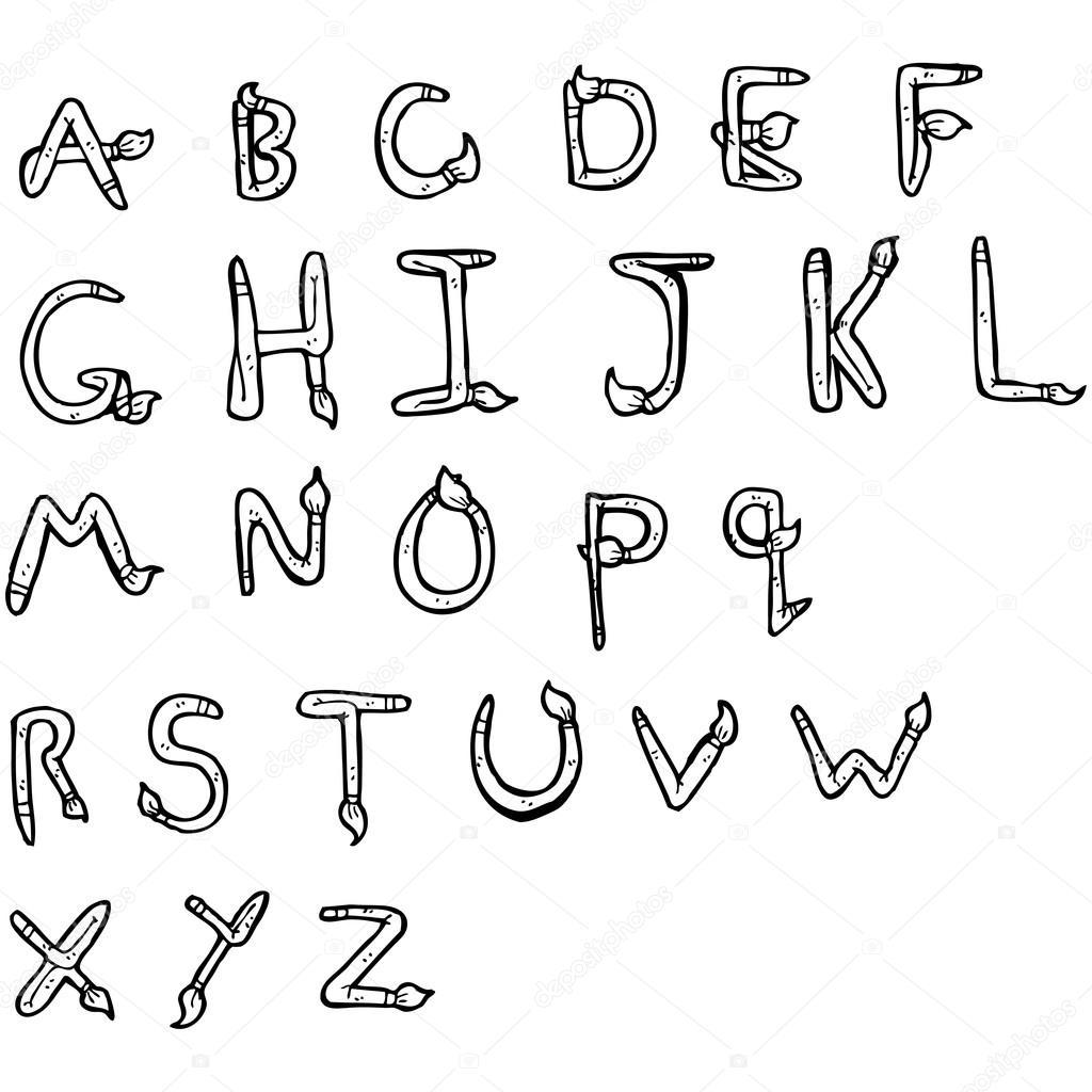 penseel vormige alfabet tekening stockvector