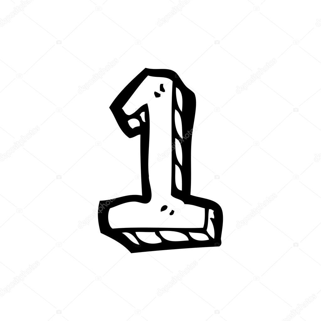 mão desenhado número 1 vetor de stock lineartestpilot 19762215