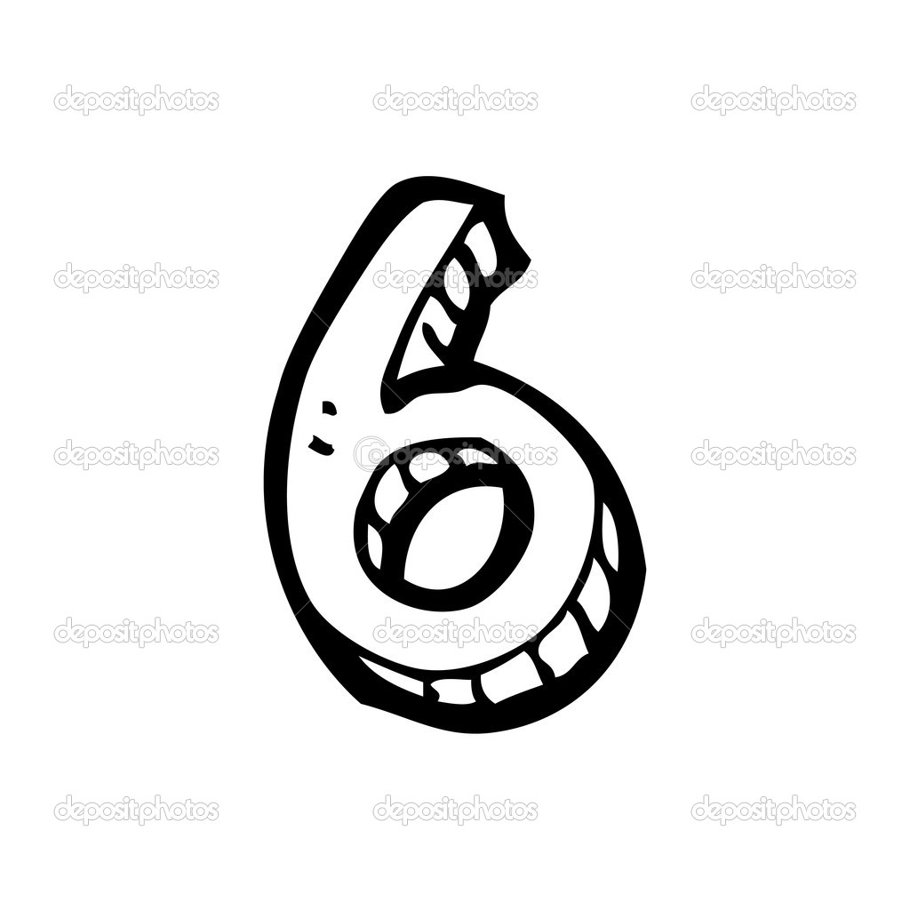 hand drawn number 6 stock vector 19762233