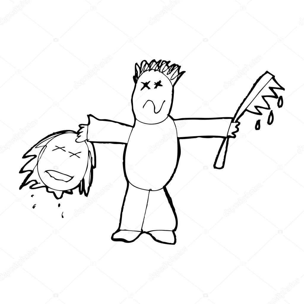 child u0026 39 s drawing of a serial killer  u2014 stock vector  u00a9 lineartestpilot  19764137
