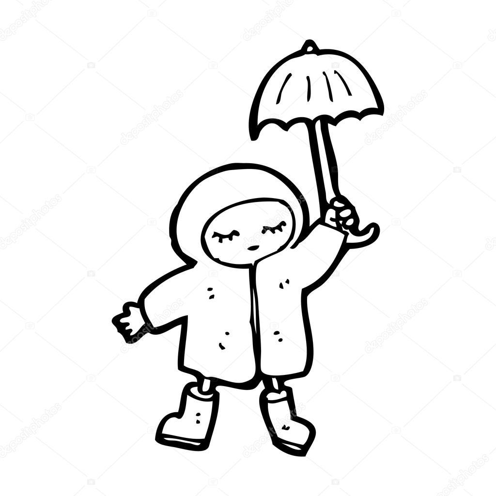 Fille sous la pluie avec dessin anim parapluie image - Parapluie dessin ...