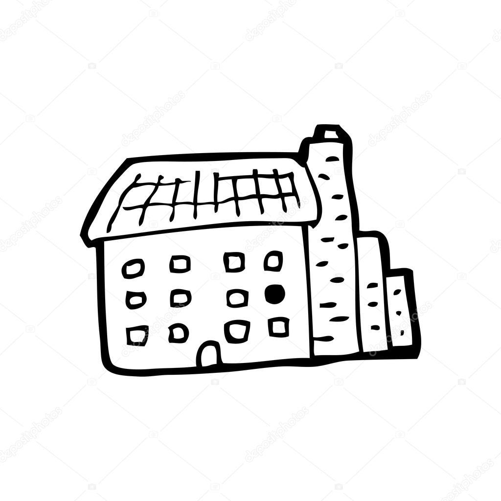 Cartone animato edificio di fabbrica — vettoriali stock