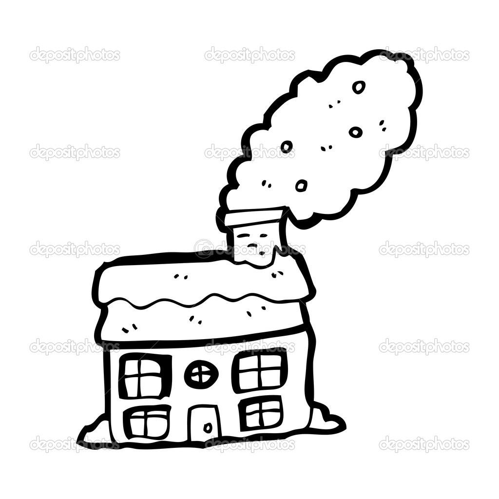 Maison Avec Caricature De Cheminee Image Vectorielle