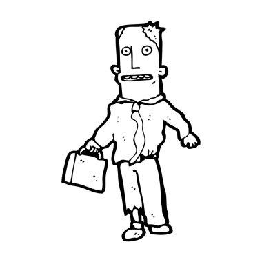 Businessman in torn clothes cartoon