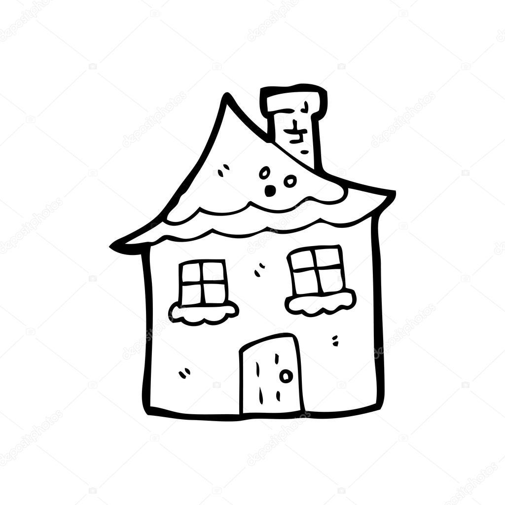 Maison couverte de neige dessin animé illustration de stock