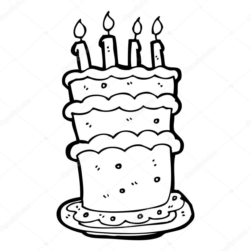Riesige Geburtstag Kuchen Cartoon Stockvektor C Lineartestpilot