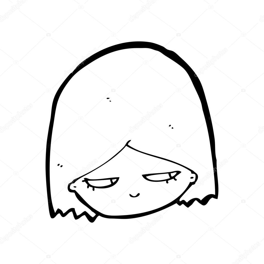 Dessin Anime Fille Maussade Image Vectorielle Lineartestpilot