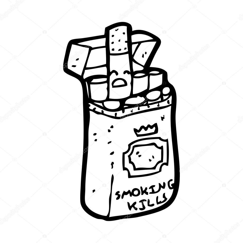 Cigarette Caricature caricature de paquet de cigarette — image vectorielle