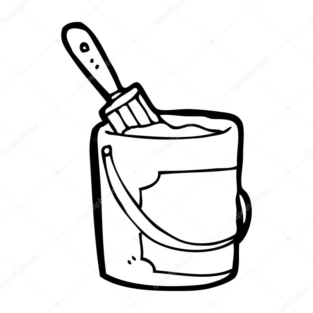 paint bucket cartoon stock vector  u00a9 lineartestpilot free paint brush clip art black and white Paintbrush Silhouette