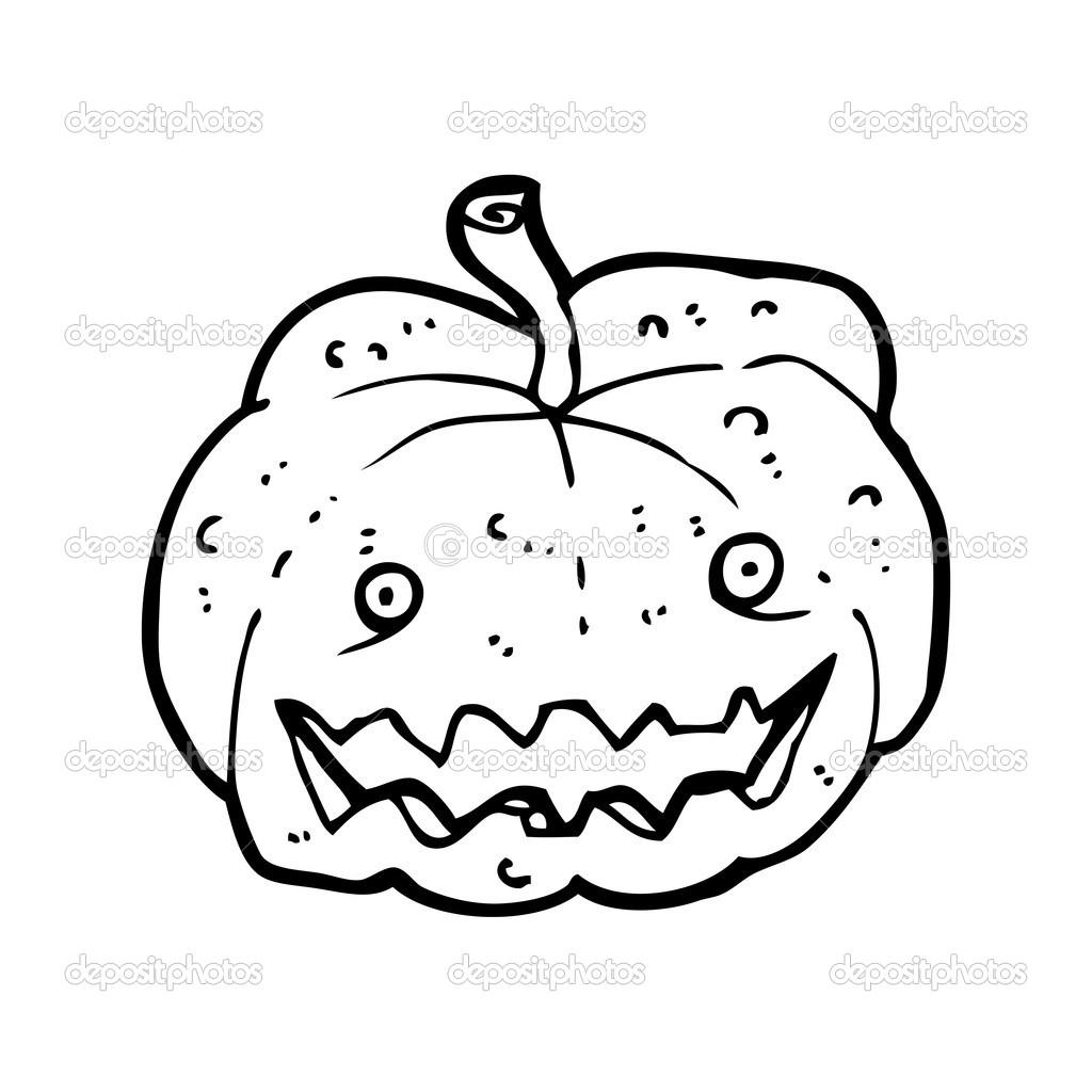 dibujos animados de calabaza de halloween espeluznante — Vector de ...
