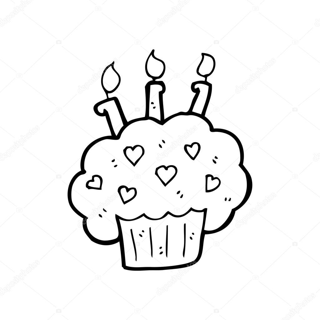 cupcake con dibujos animados vela — Archivo Imágenes Vectoriales ...