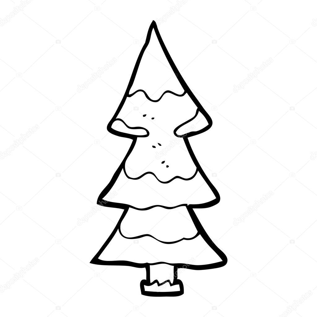 rbol de navidad nevado de dibujos animados u vector de stock