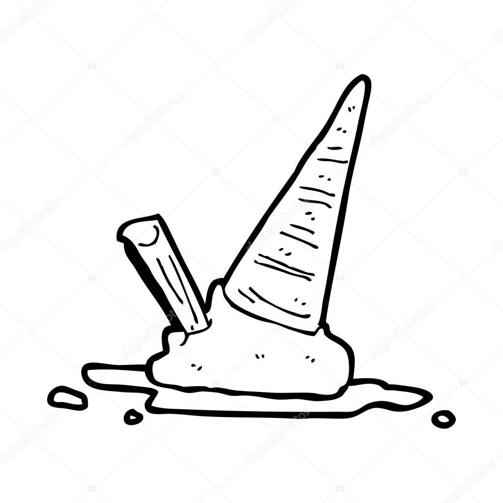 Cartone animato gelato caduto\u2013 illustrazione stock