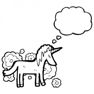 Vector, unicorn with thought bubble on a white background clip art vector