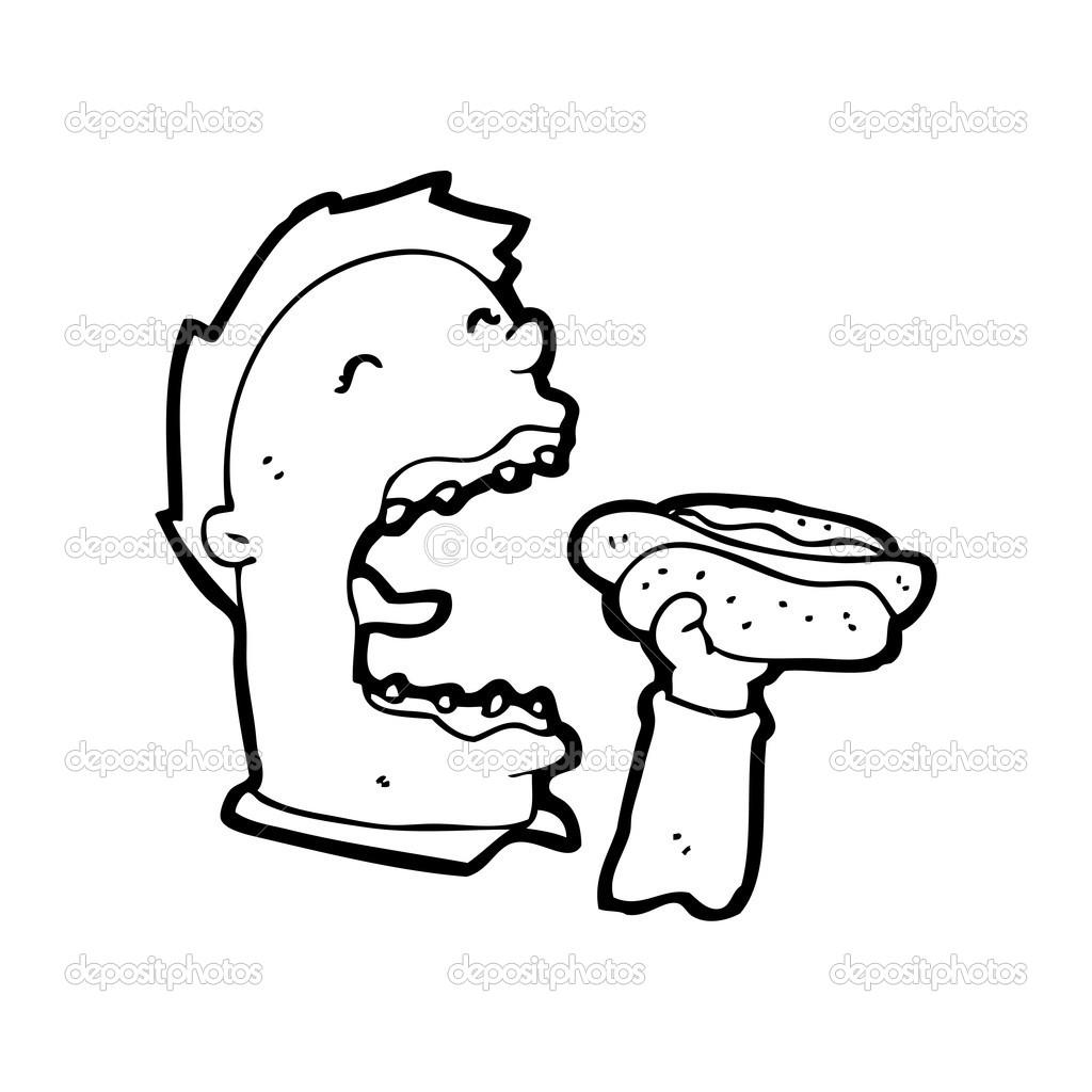 perrito caliente hombre comiendo — Vector de stock © lineartestpilot ...