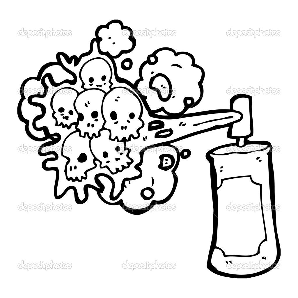 spooky skull graffiti spray can stock vector lineartestpilot