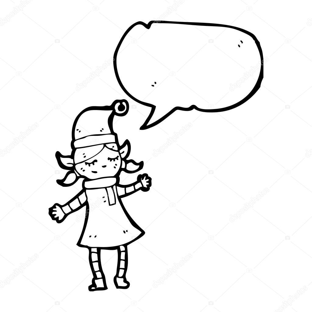 Fille De Dessin Anime Noel Elf Image Vectorielle Lineartestpilot