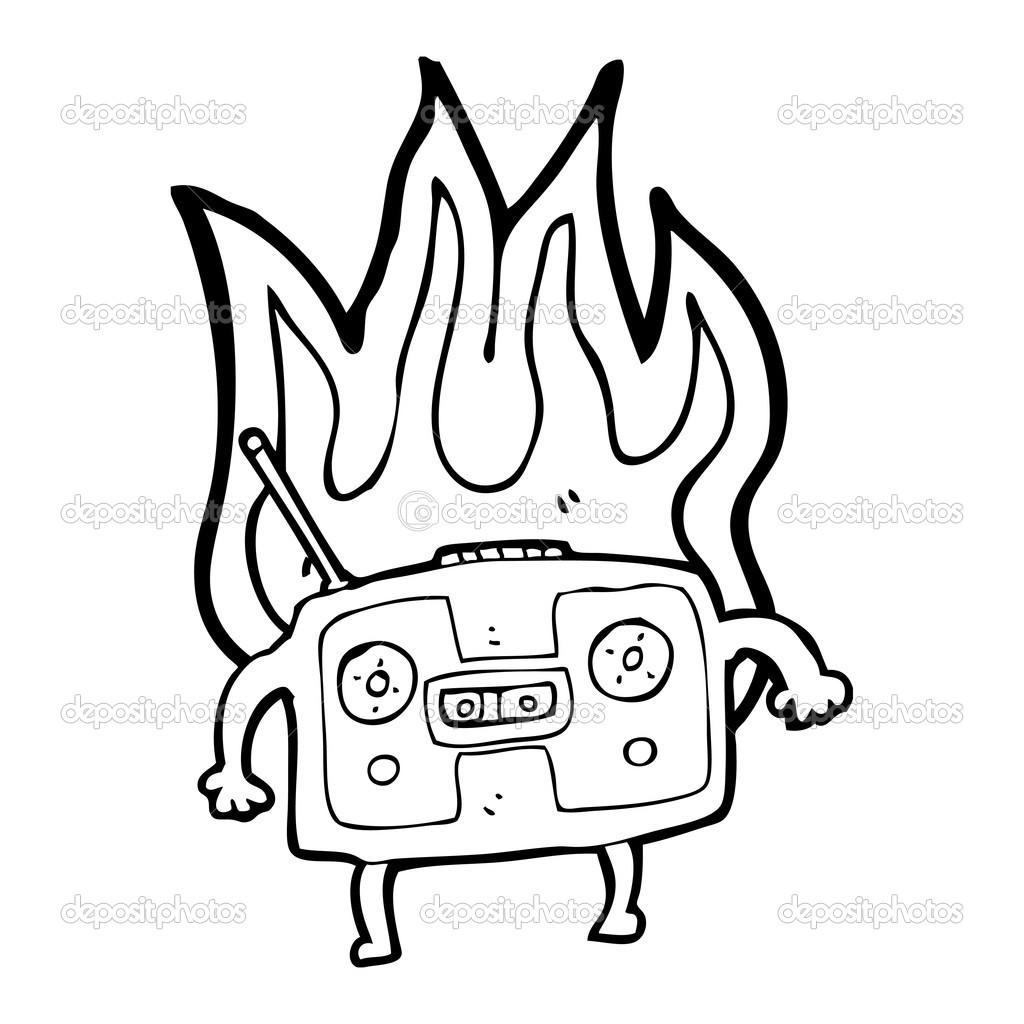 Animado Radio Para Colorear Magnetófono De Radio Retro En Llamas