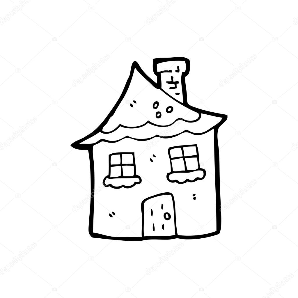 Vector Tiny Snow Covered House Cartoon On A White Background By Lineartestpilot