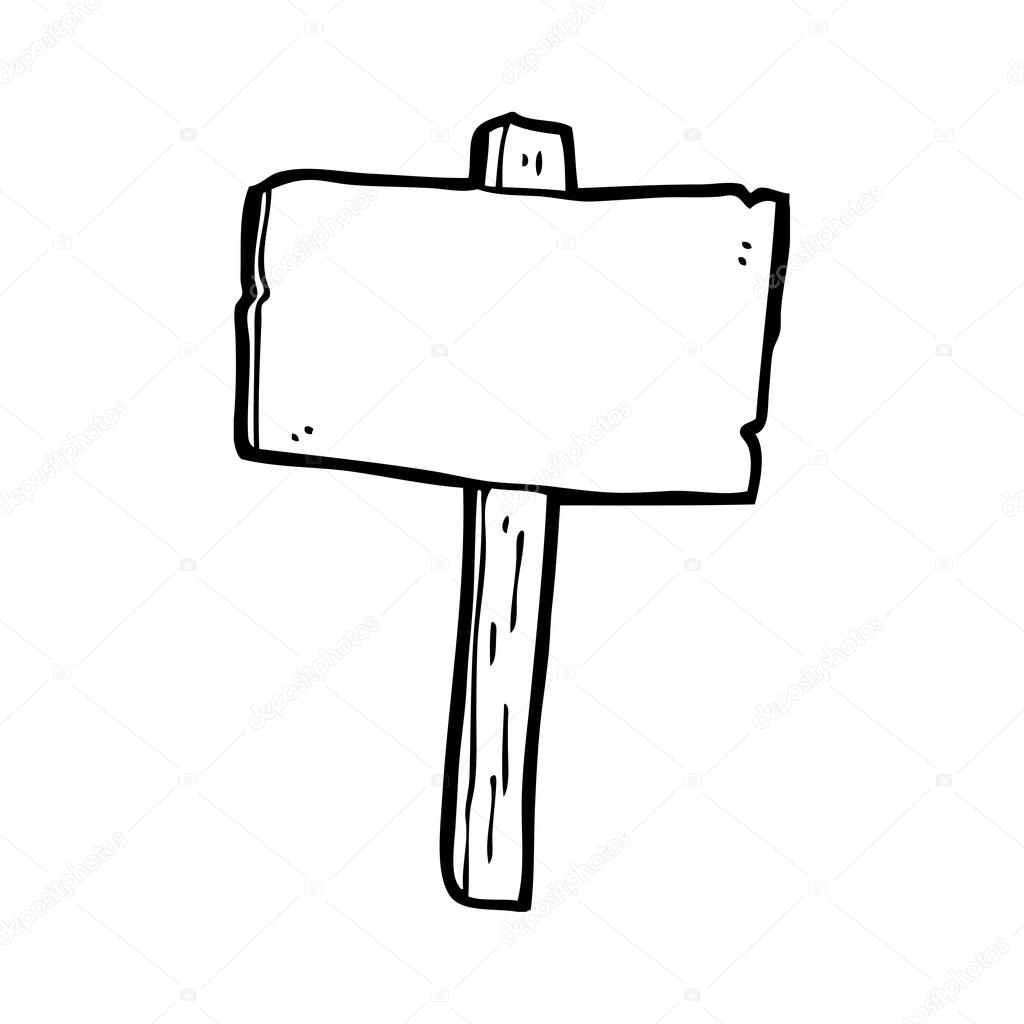 Vector Cartoon Blank Sign Post On A White Background By Lineartestpilot