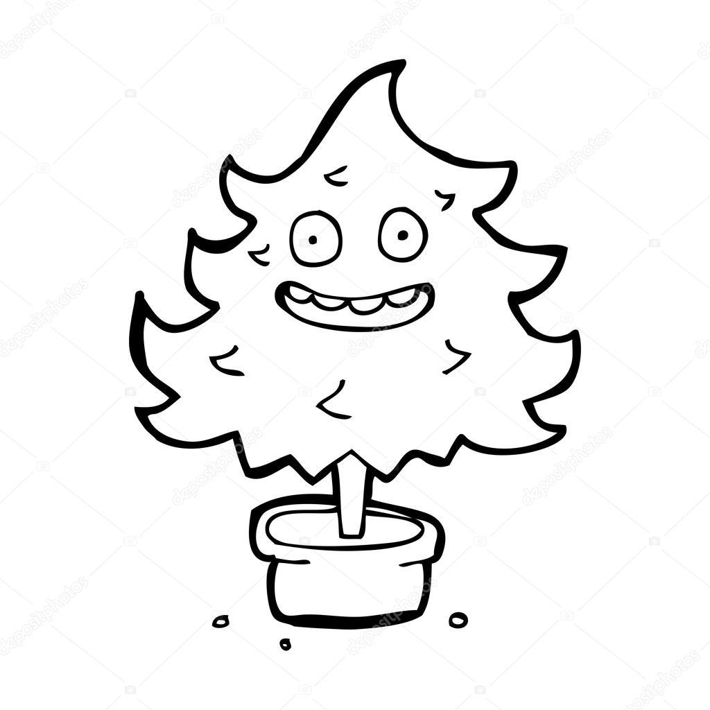 Cartoon Scruffy Weihnachtsbaum Stockvektor Lineartestpilot 20414979