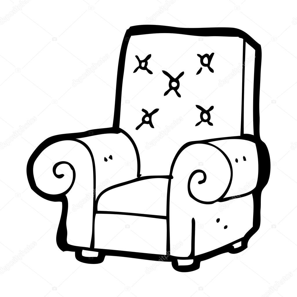 Old stuffed armchair cartoon stock vector for Sillas para dibujar facil