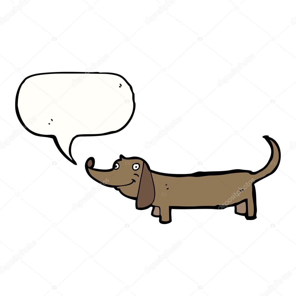 Cartone animato di un cane bassotto parlante u vettoriali stock