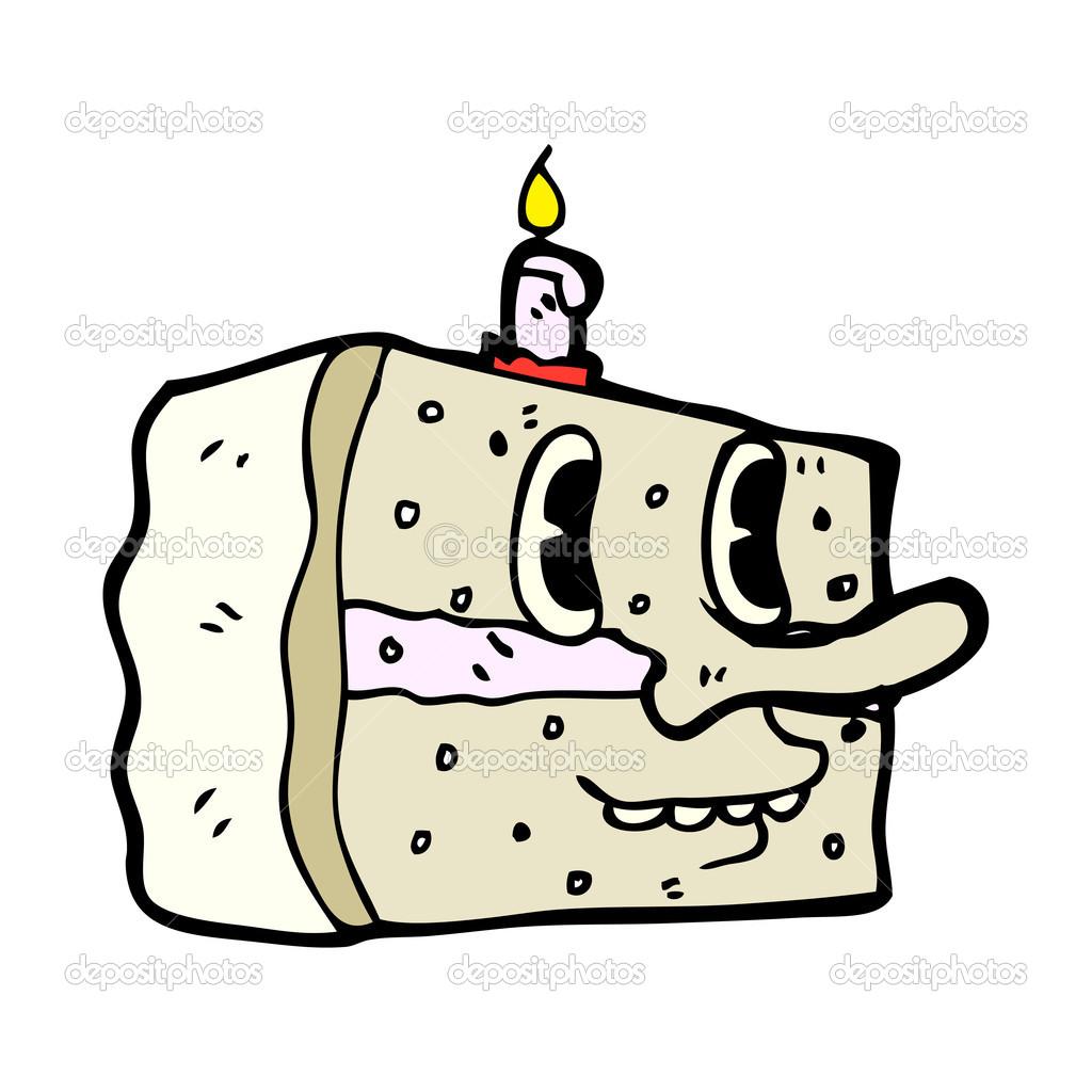 Witzige Retro Kuchen Mit Gesicht Stockvektor C Lineartestpilot