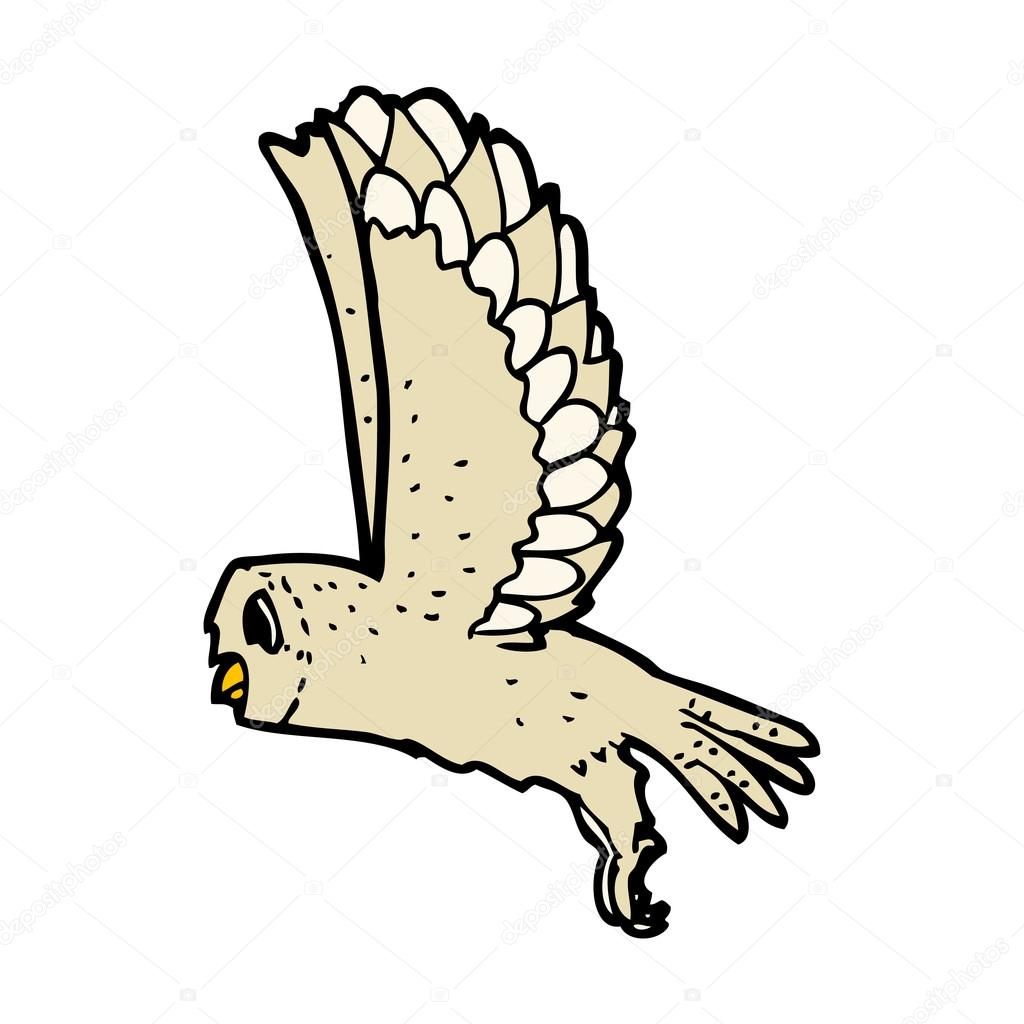 flying owl drawing stock vector 21092739