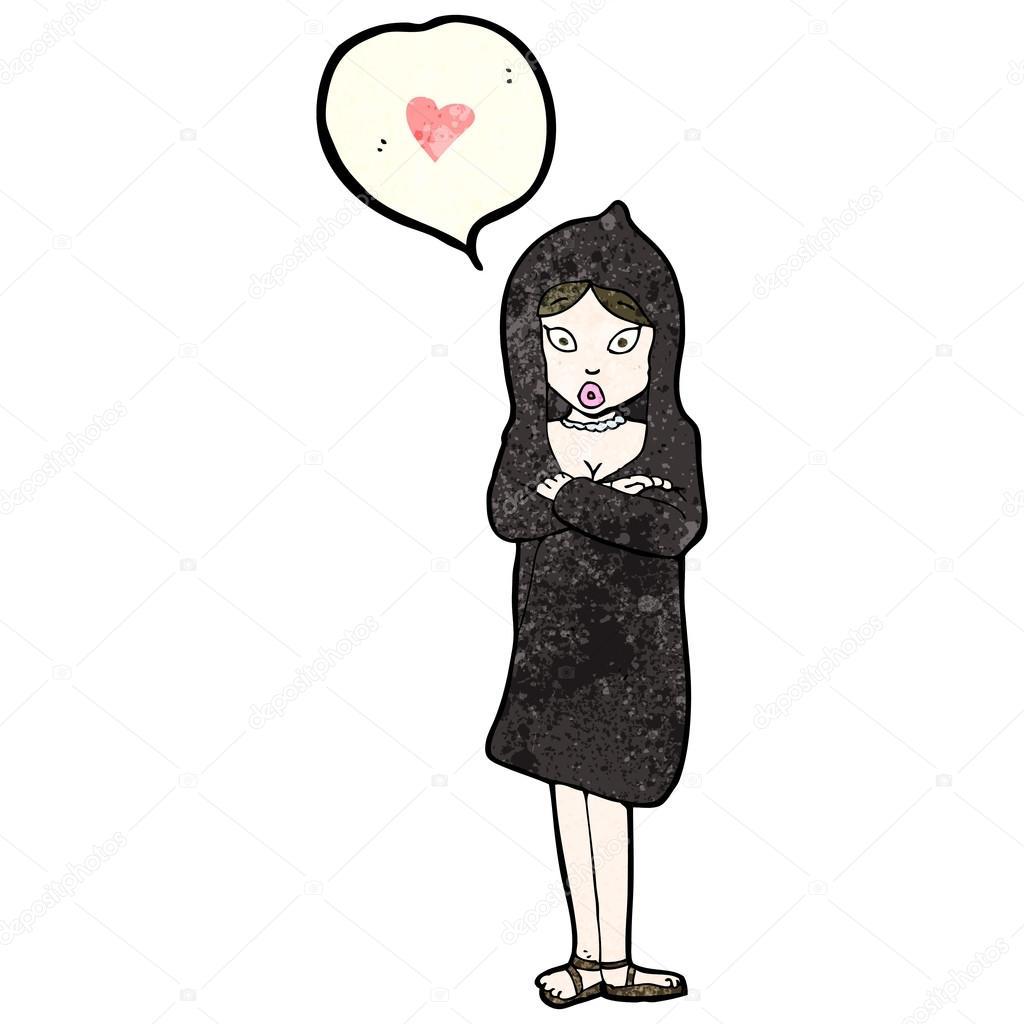 Femme En Manteau Noir Avec Coeur Damour Image Vectorielle