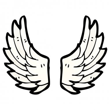 Vector, cartoon angel wings on a white background stock vector