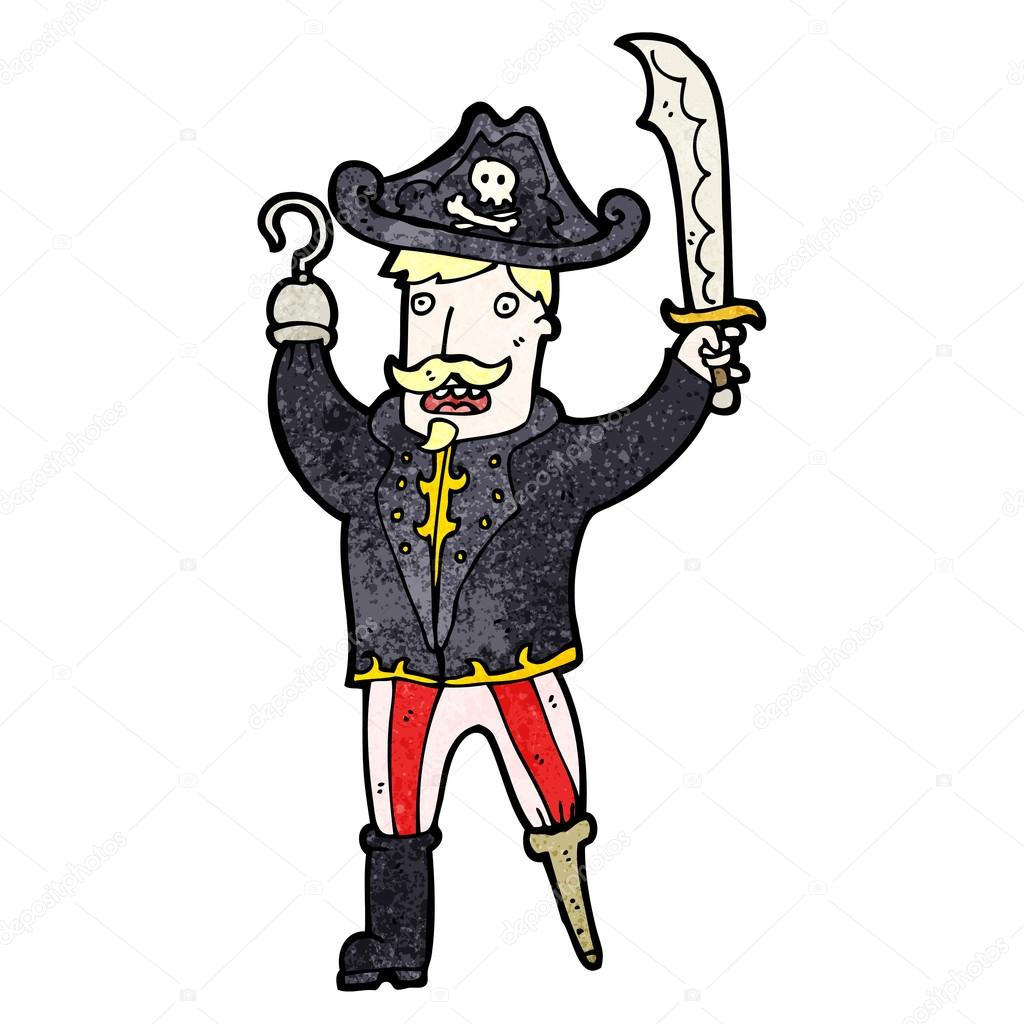 dos desenhos animados capitão pirata com perna de pau e gancho