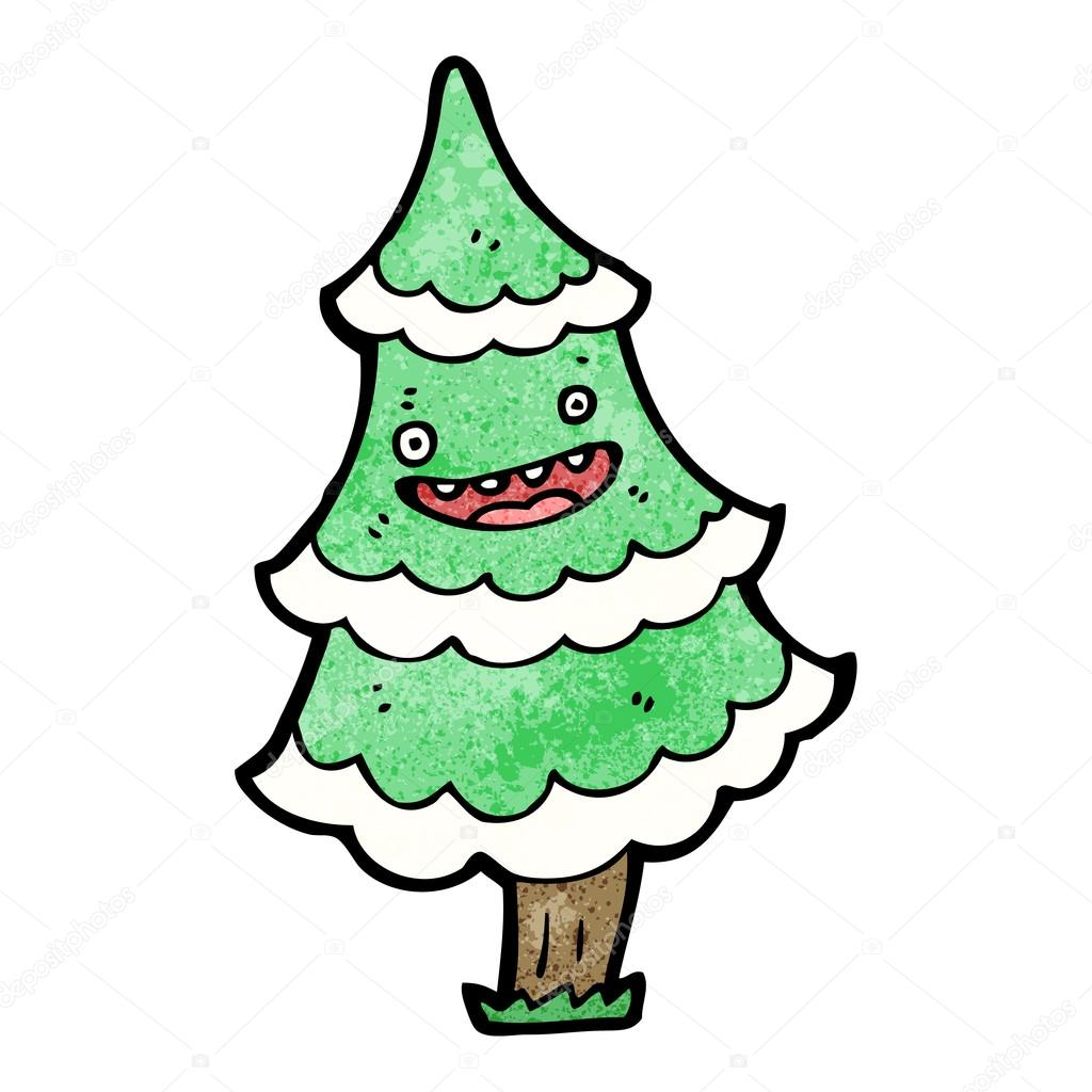 talking christmas tree cartoon u2014 stock vector lineartestpilot