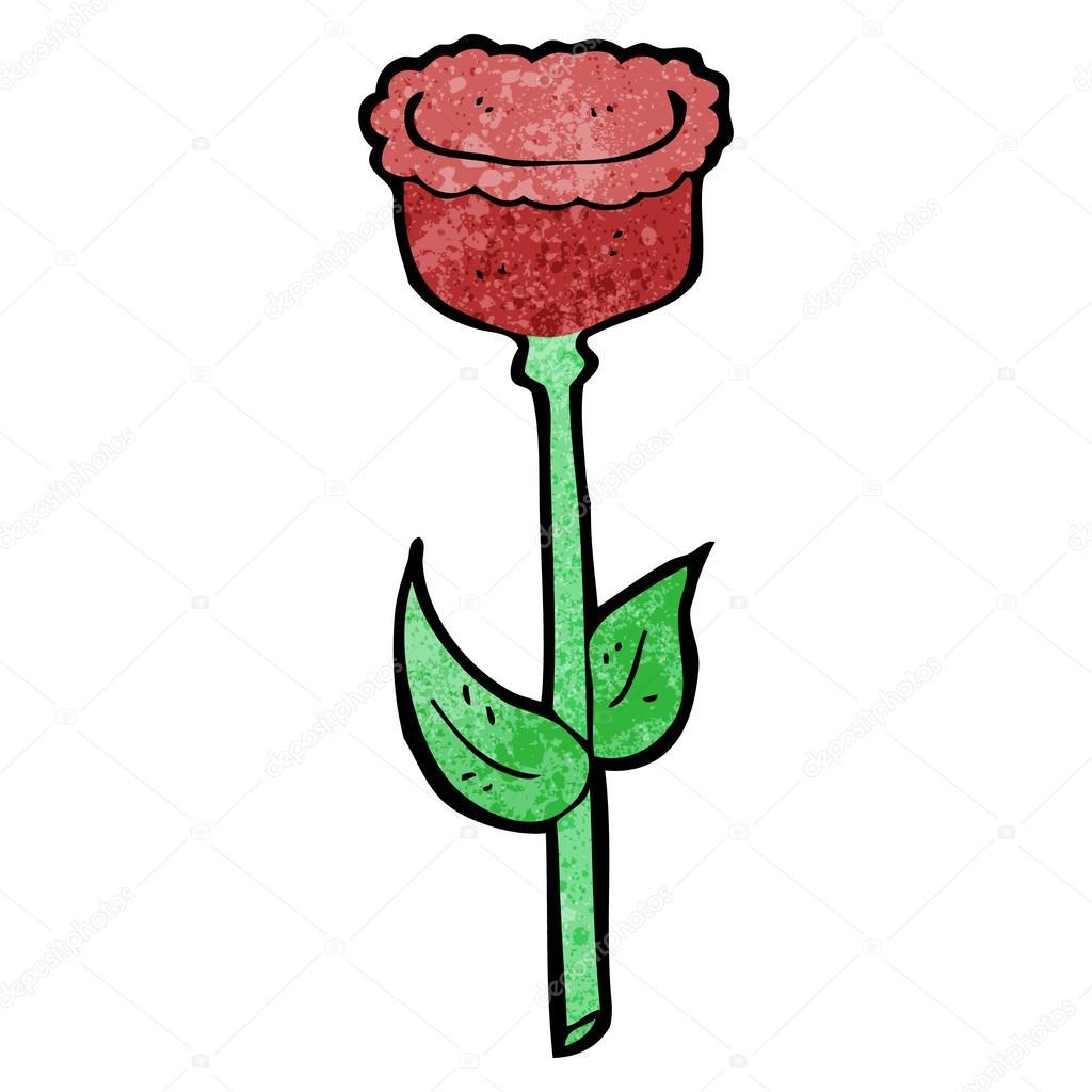 Dessin Animé Dune Fleur De Tulipe Rouge Image Vectorielle