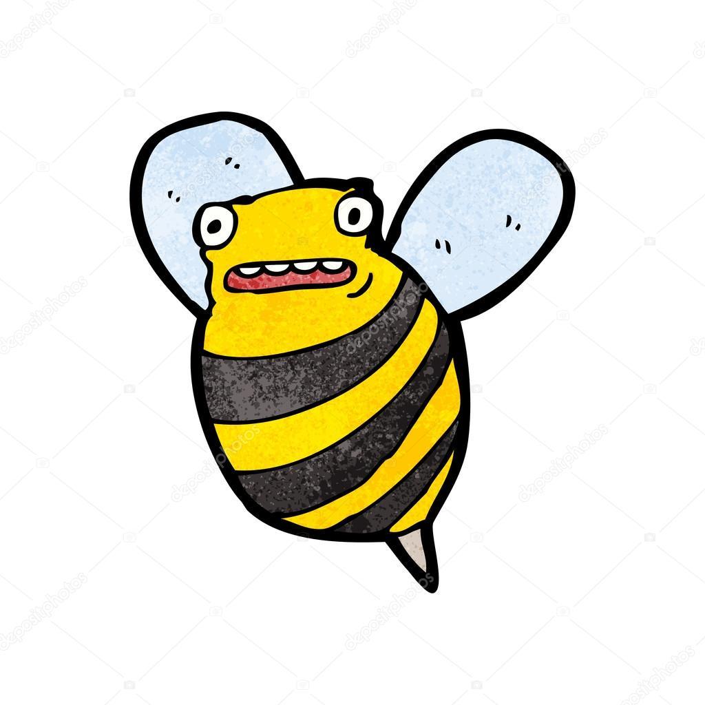 Funny Bee Cartoon Raster Version Stockvektor Lineartestpilot