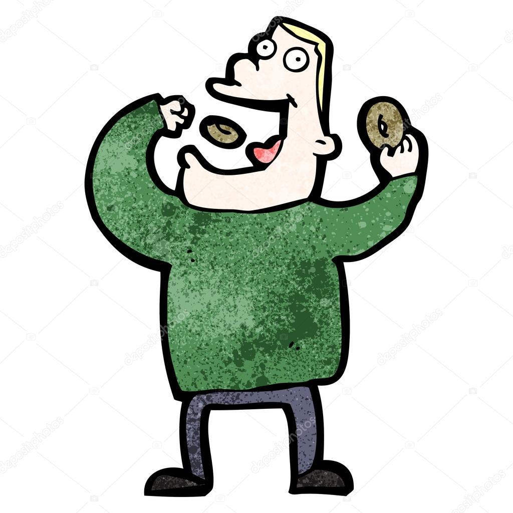 Cartone animato le ciambelle uomo mangia — vettoriali