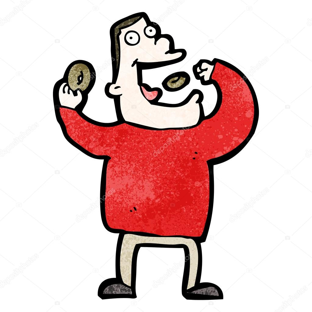 Dibujos animados de donuts hombre comiendo — vector