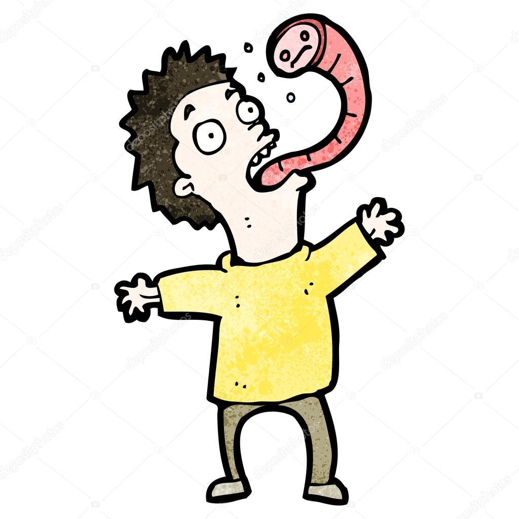 Uomo di cartone animato con verme parassita — vettoriali